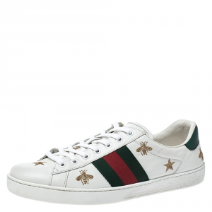 Gucci White Leather Ace Web Bee Embroidered Low Top Sneakers Size 42.5