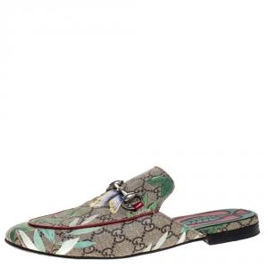 Gucci Beige GG Canvas Princetown Horsebit Tian Print Flat Mules Size 40