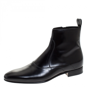 Gucci Black Leather Ankle Boots Size 43