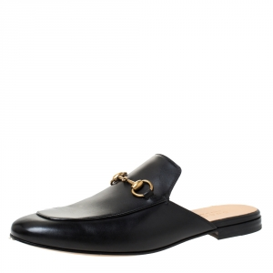 Gucci Black Leather Princetown Horsebit Mules Size 42.5