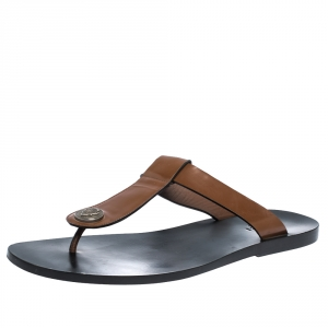 Gucci Brown Leather Hysteria Thong Sandals Size 44