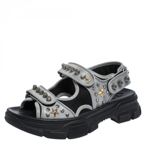 Gucci Grey/Black Leather and Mesh Aguru Studded Sandals Size 41