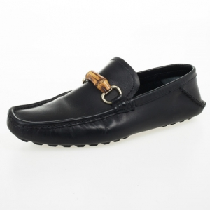 Gucci Black Leather Bamboo Horsebit Loafers Size 40