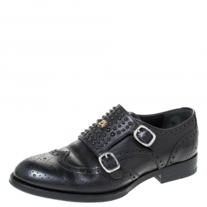 Gucci Black Brogue Leather Queercore Studded Brogue Derby Monk Size 40.5