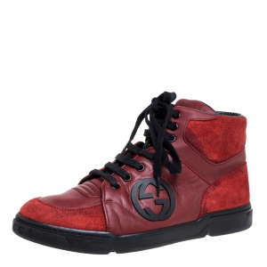 Gucci Red Leather And Suede High-Top Sneakers Size 40
