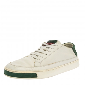 Gucci White Leather Low Top Sneakers Size 40.5