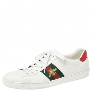 Gucci White Leather Embroidered Bee Ace Low Top Sneakers Size 47