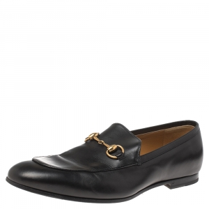 Gucci Black Leather Horsebit Loafers Size 42.5