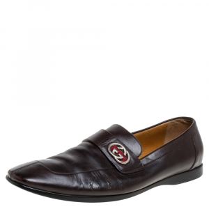 Gucci Brown Leather GG Loafers Size 42.5
