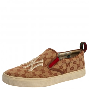 Gucci GG Beige GG Canvas NY Yankees Slip-On Sneakers Size 43