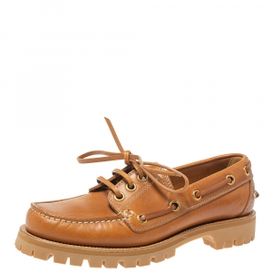 Gucci Brown Leather Deck Shoes Size 40.5