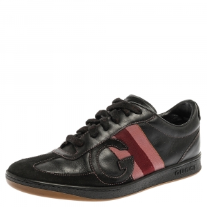Gucci Black Leather and Suede Web G Low Top Sneakers Size 41.5