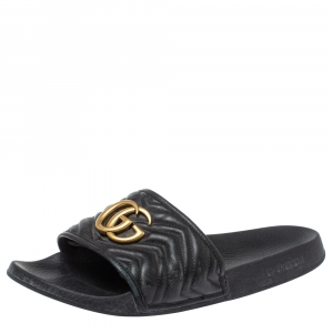 Gucci Black Leather GG Marmont Slide Sandals Size 43