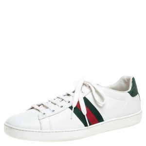 Gucci White Leather Ace Web Detail Low Top Sneakers Size 40