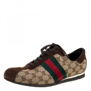 Gucci Beige/Brown GG Canvas And Suede Leather Web Detail Low Top Sneakers Size 42.5