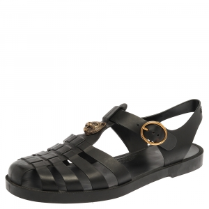 Gucci Black Rubber Marmont And Tiger Embellished Buckle Strap Sandals Size 43