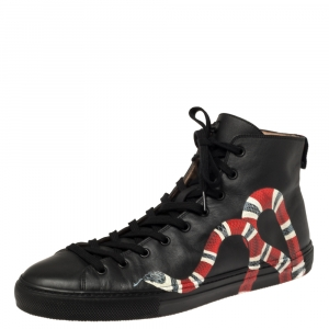 Gucci Black Leather Kingsnake High Top Sneakers Size 45