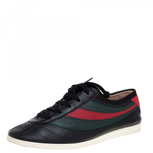 Gucci Black Leather Falacer Web Low Top Sneakers Size 40.5