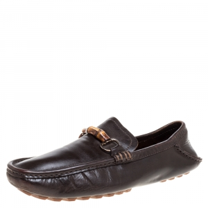 Gucci Dark Brown Leather Bamboo Horsebit Loafers Size 42.5