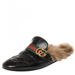 Gucci Black Leather and Fur Lined GG Web Princetown Mules Size 42