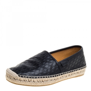 Gucci Black Guccissima Leather Espadrilles Slip On Sandals Size 40.5