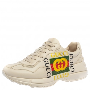 Gucci Mystic White Leather Gucci Square Logo Rhyton Low Top Sneakers Size 43