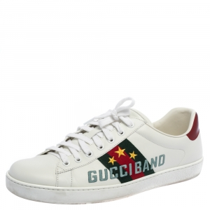Gucci White Leather Ace Gucci Band Sneakers Size 44
