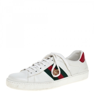 Gucci White Leather Embroidered Bee Ace Low Top Sneakers Size 43.5