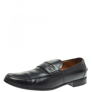 Gucci Black Leather Horsebit Embossed Slip On Loafers Size 43.5