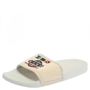 Gucci White Logo Print Canvas Slip On Slides Size 43