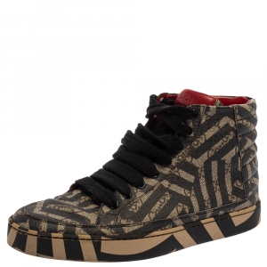 Gucci Beige and Brown Monogram Canvas Caleido High Top Sneakers Size 39
