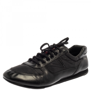 Prada Black Leather Low Top Sneakers Size 41.5