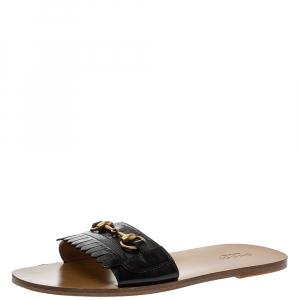 Gucci Black Leather Varadero Horsebit Slide Sandals Size 41.5