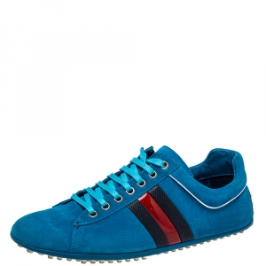 Gucci Blue Suede Web Detail Low Top Sneakers Size 41.5