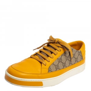Gucci Yellow/Beige GG Canvas and Leather Low Top Sneakers Size 44