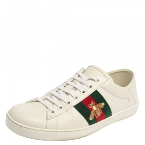 Gucci White Leather Ace Bee Low Top Sneakers Size 40.5