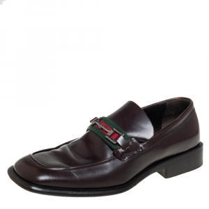 Gucci Brown Leather Square Horsebit Web Detail Loafers Size 45