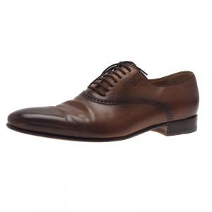 Gucci Brown Leather Lace Up Oxfords Size 42.5