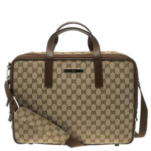 Gucci Brown/Beige GG Canvas Briefcase
