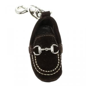 Gucci Brown Moccassin Silver Tone Bag Charm