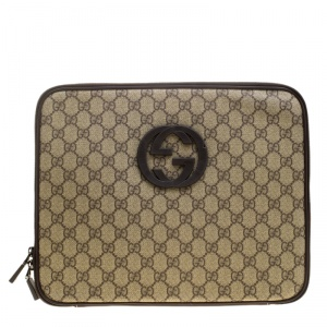 Gucci Beige GG Supreme Canvas Interlocking GG Netbook Case