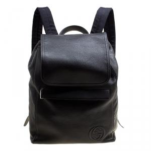 Gucci Black Pebbled Leather Backpack Bag