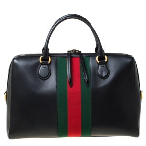 Gucci Black Leather and Canvas Web Slim Briefcase