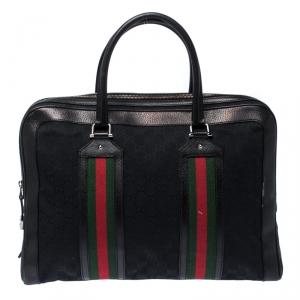 Gucci Black GG Canvas and Leather Web Travel Bag