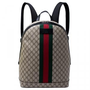 Gucci Beige GG Supreme Canvas Web Backpack