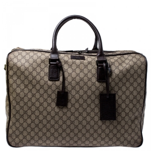 Gucci Beige/Brown Coated Canvas and Leather Weekender Travel Bag