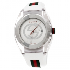 Gucci White Nylon and Stainless Steel Sync 137.1 Men's Wristwatch 46 mm