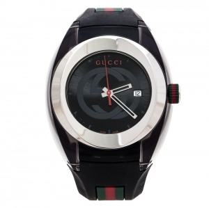 Gucci Black Transparent Nylon Stainless Steel Sync YA137101 Men's Wristwatch 46 mm