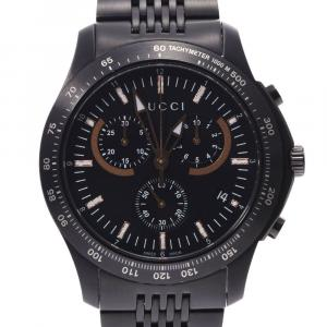 Gucci Black PVD Stainless Steel G Timeless Chrono 126.2 Men's Wristwatch 44 MM