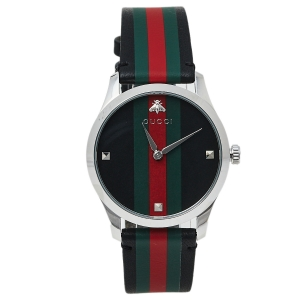 Gucci Green/Red Stainless Steel Leather 126.4 G-Timeless Automatic Men's Wristwatch 38 MM